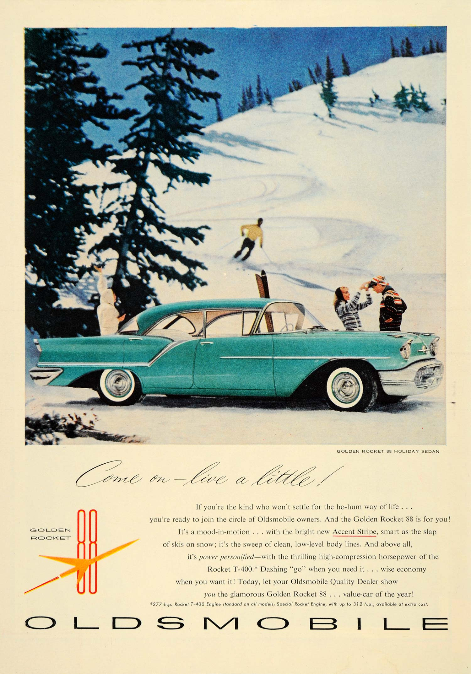 1957 Ad Oldsmobile Golden Rocket 88 Holiday Sedan Fins - ORIGINAL TM3