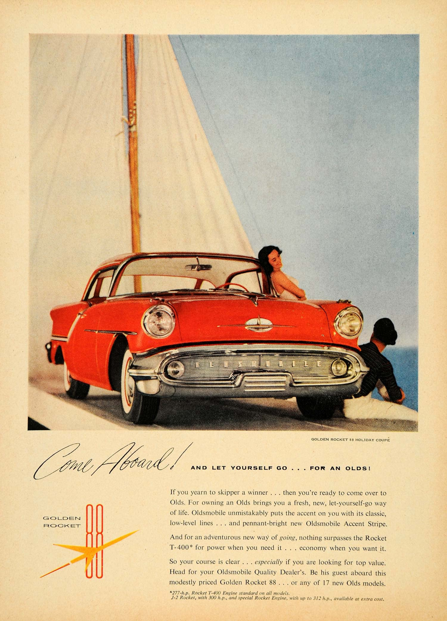 1957 Ad Sailboat Oldsmobile Golden Rocket 88 T-400 - ORIGINAL ADVERTISING TM3