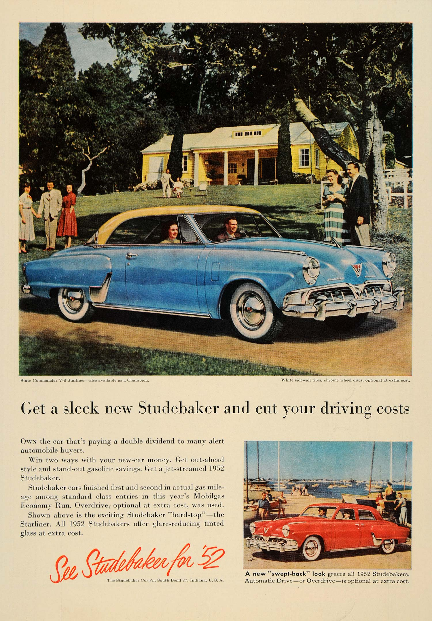 1952 Ad Studebaker State Commander V8 Starliner Cars - ORIGINAL ADVERTISING  TM3