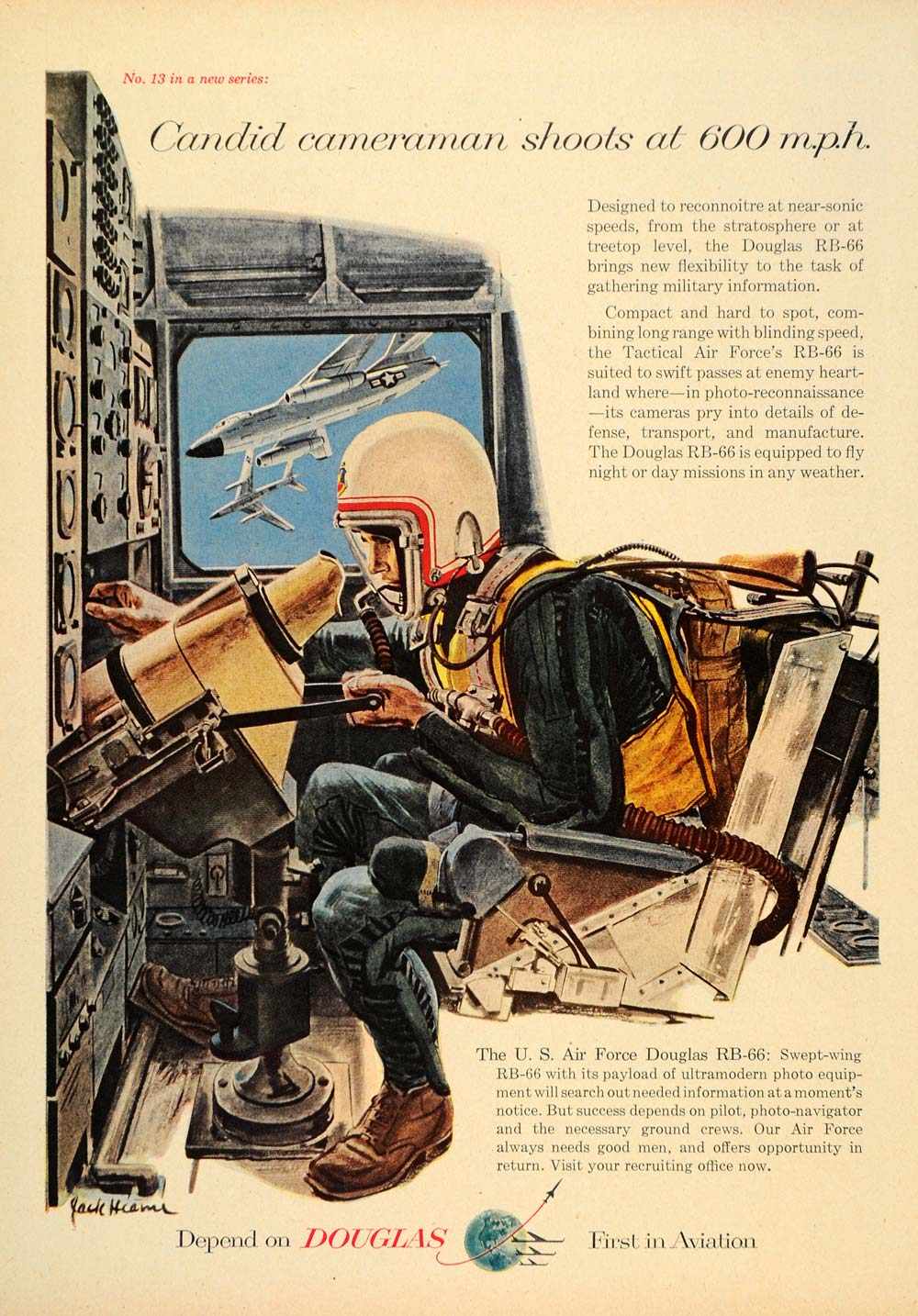 1956 Ad Douglas RB-66 Cameraman Cockpit Jack Hearne - ORIGINAL ADVERTISING TM3