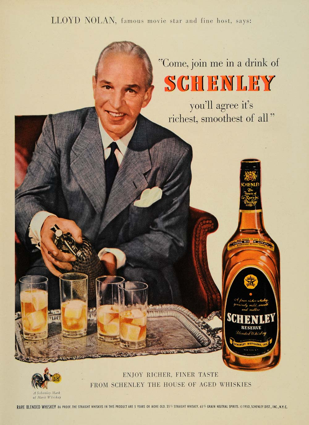 1950 Ad Schenley Blended Whiskey Lloyd Nolan Straight - ORIGINAL ADVERTISING TM3