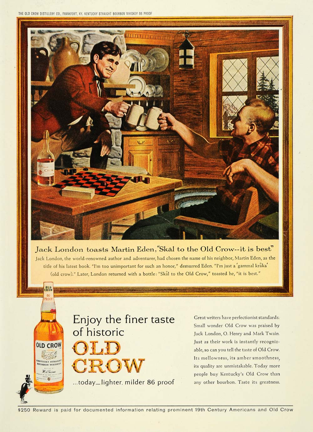 1963 Ad Old Crow Kentucky Whiskey Jack London Mark Eden - ORIGINAL TM3
