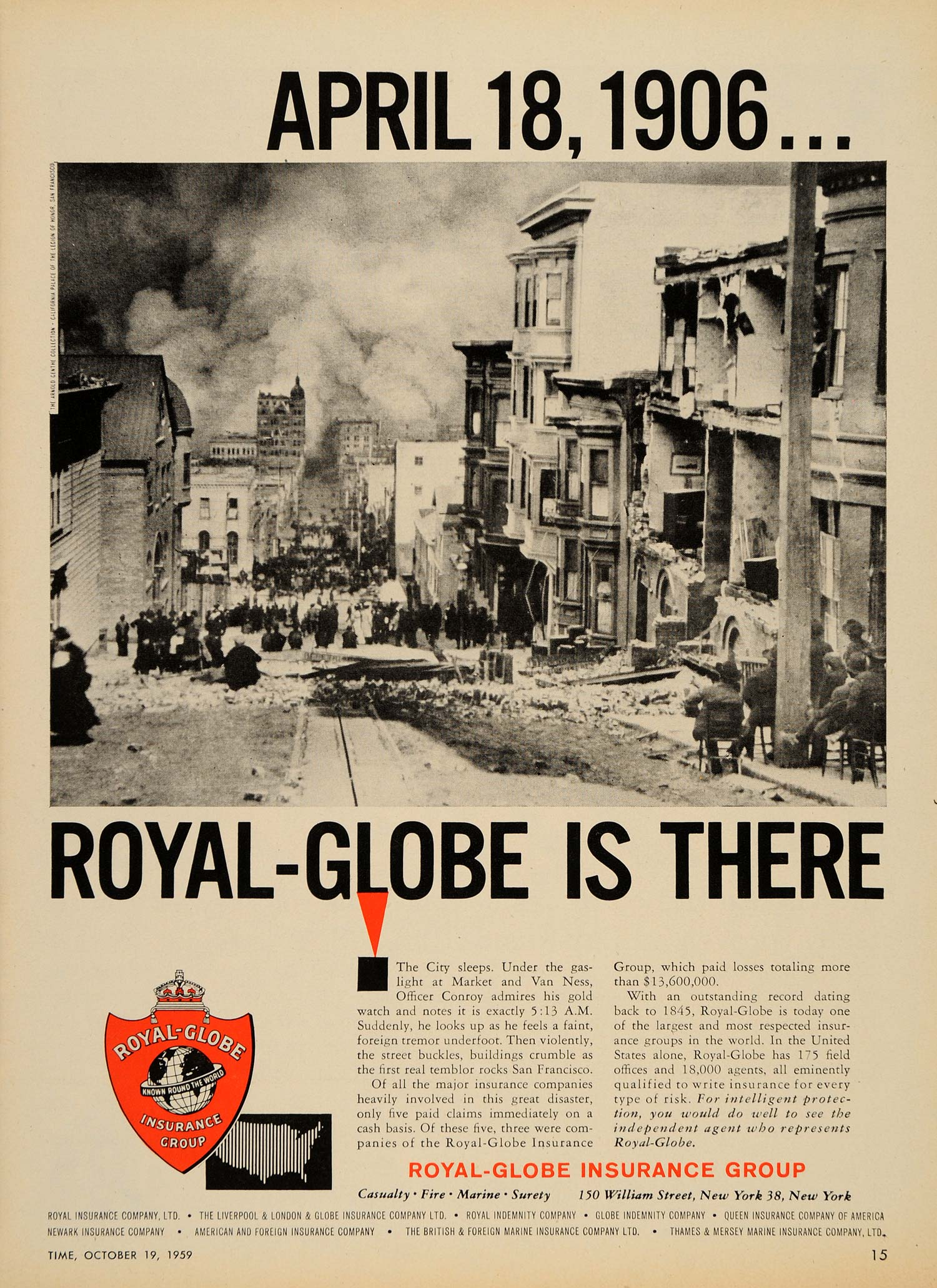 1959 Ad Royal Insurance San Francisco 1906 Earthquake - ORIGINAL ADVERTISING TM3