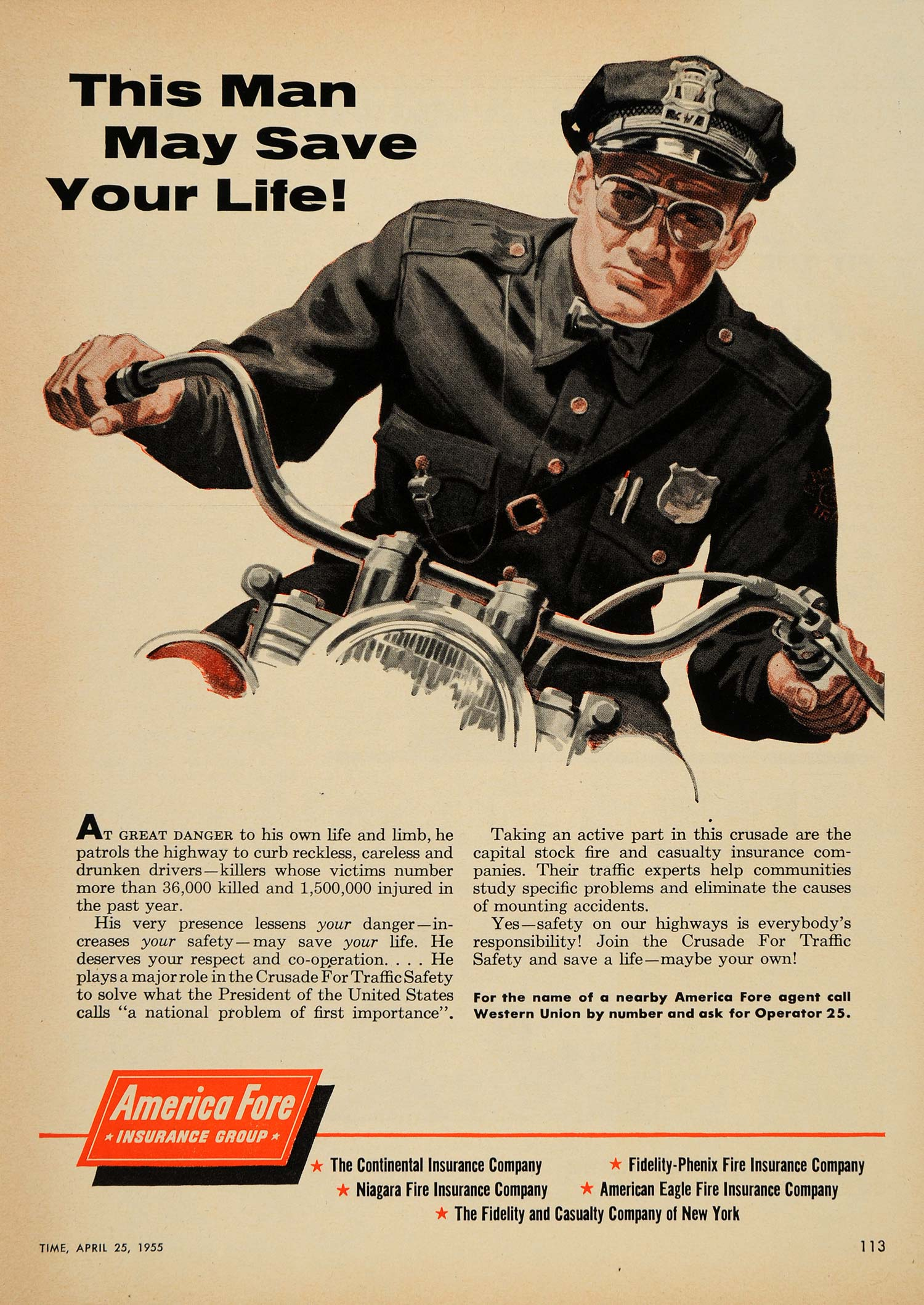 1955 Ad America Fore Insurance Group Patrol Motorcycle - ORIGINAL TM3