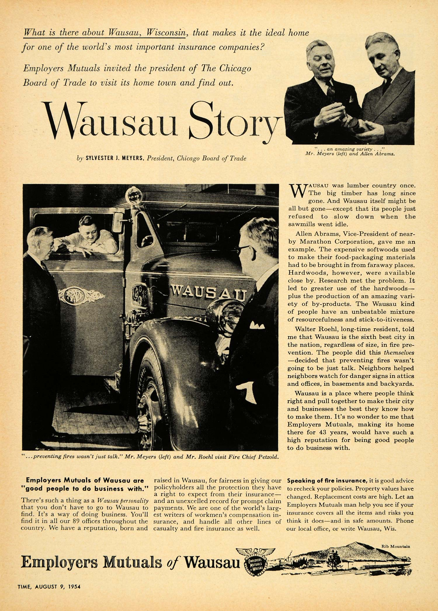 1954 Ad Employers Mutual Insurance Wausau Story Abrams - ORIGINAL TM3