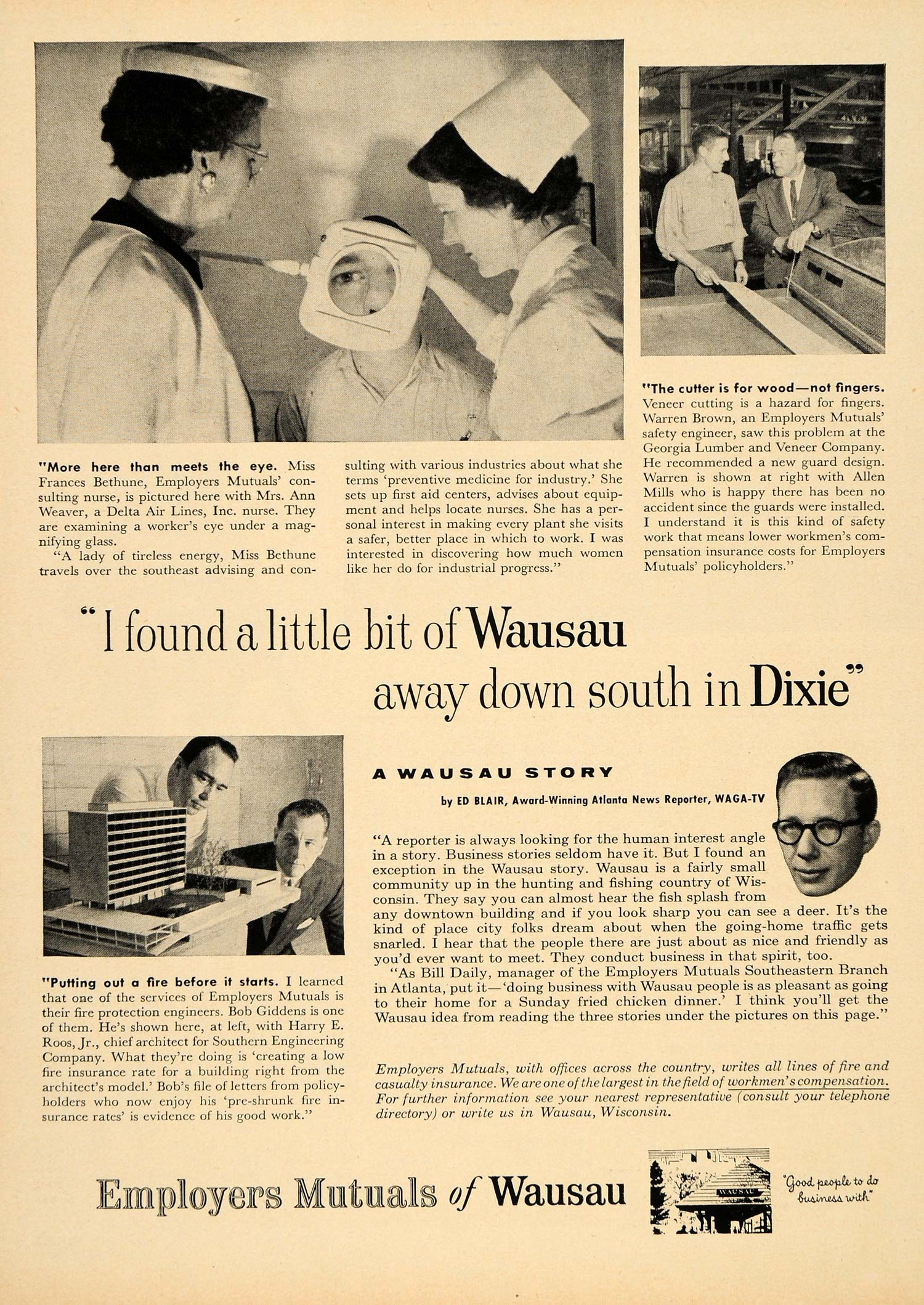 1956 Ad Employers Mutuals Insurance Wausau Story Roos - ORIGINAL ADVERTISING TM3