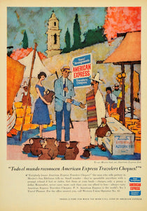 1958 Ad Travelers Checks American Express Western Union - ORIGINAL TM3