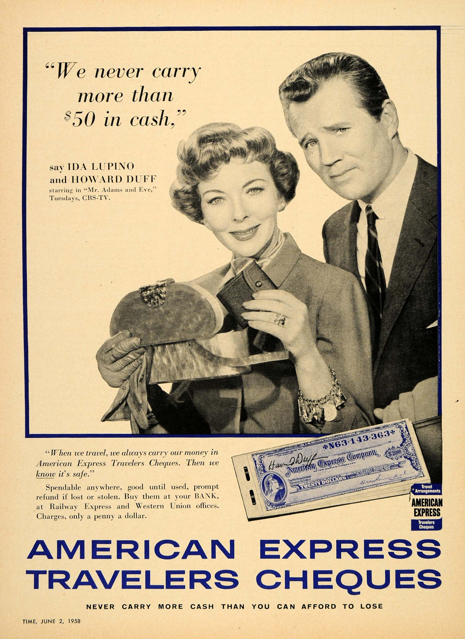1958 Ad Howard Duff Travelers Cheques American Express - ORIGINAL TM3