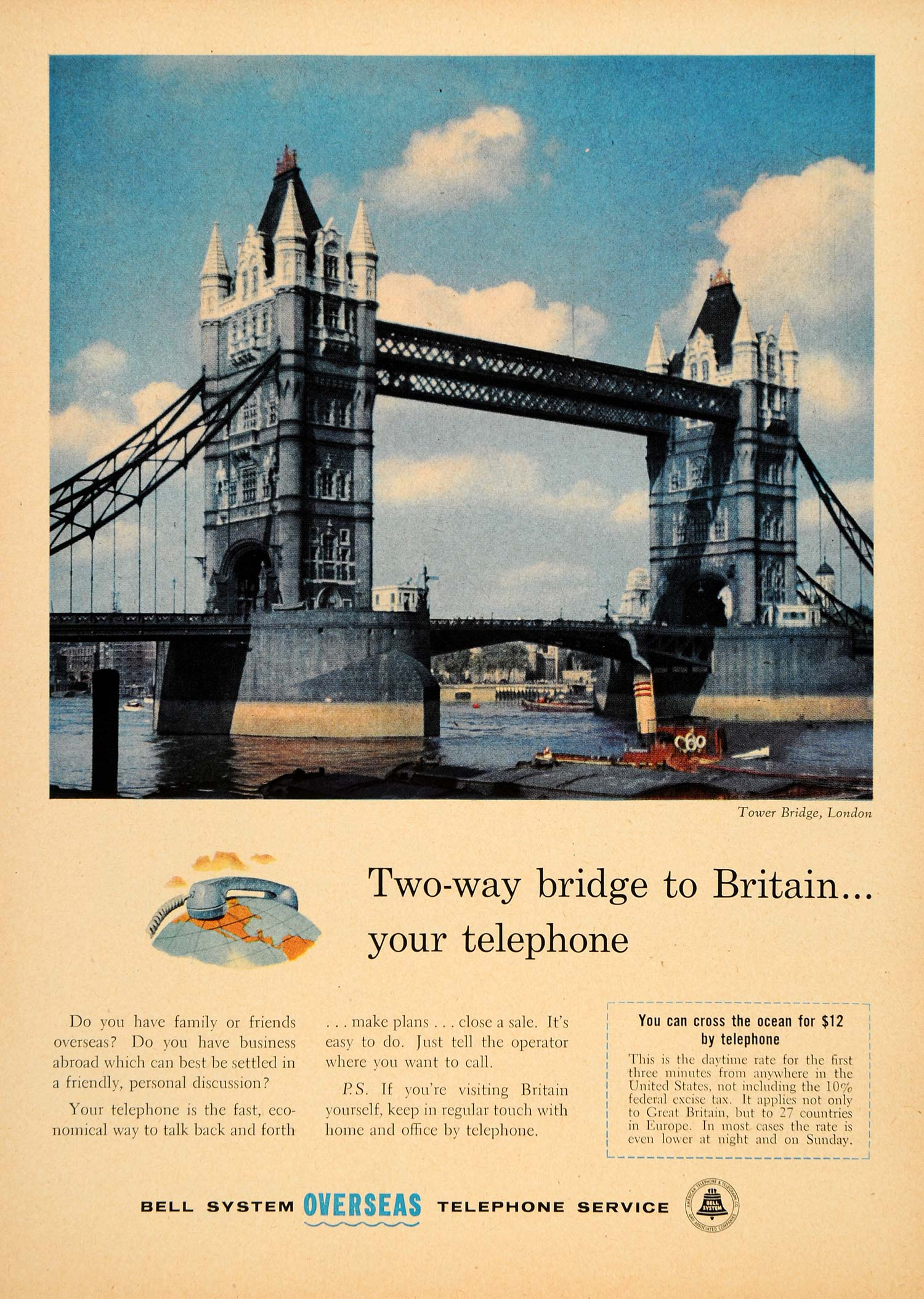 1957 Ad Tower Bridge Belly System Overseas Telephone - ORIGINAL ADVERTISING TM3