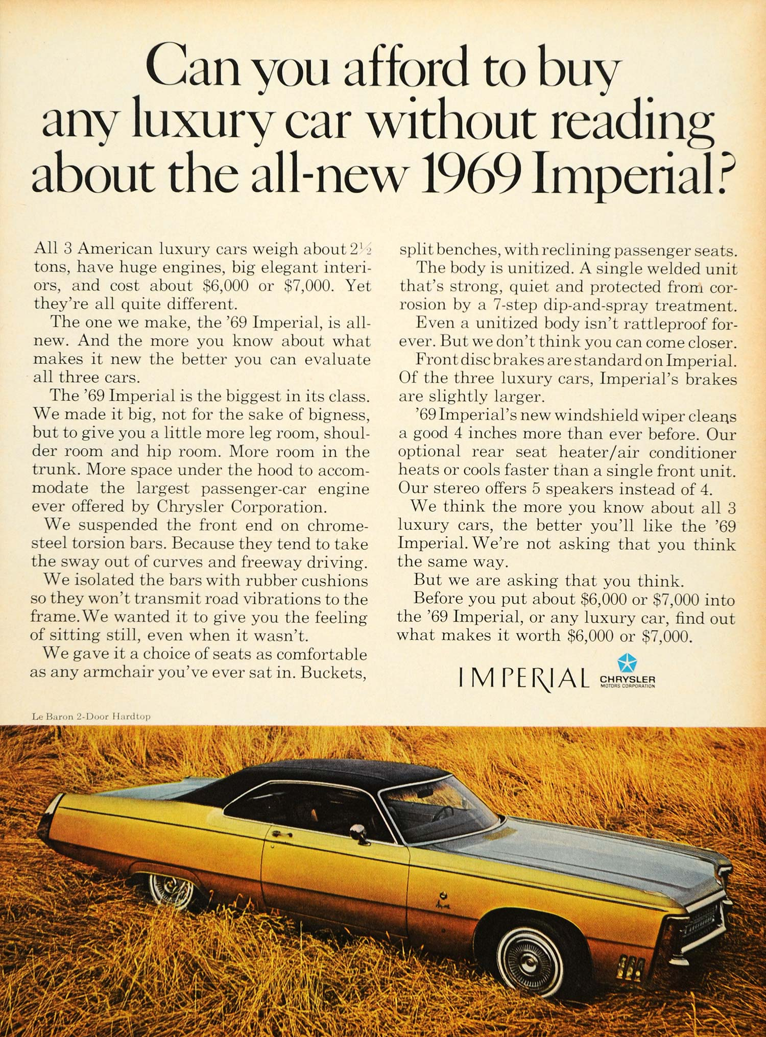 1968 Ad Vintage Luxury '69 Imperial Chrysler Pricing - ORIGINAL ADVERTISING TM3
