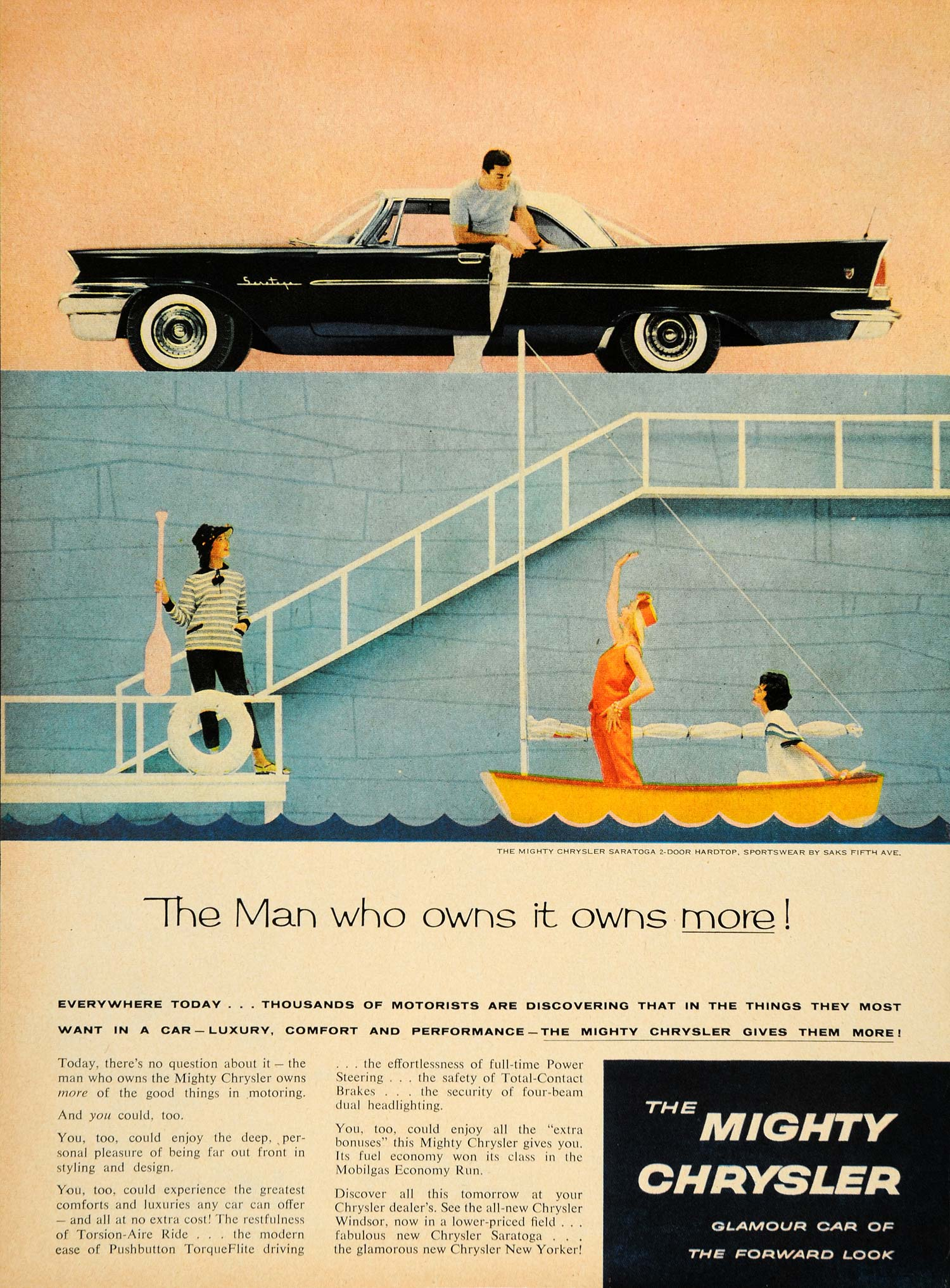 1958 Ad Mighty Chrysler Saratoga New Yorker Sailboat - ORIGINAL ADVERTISING TM3