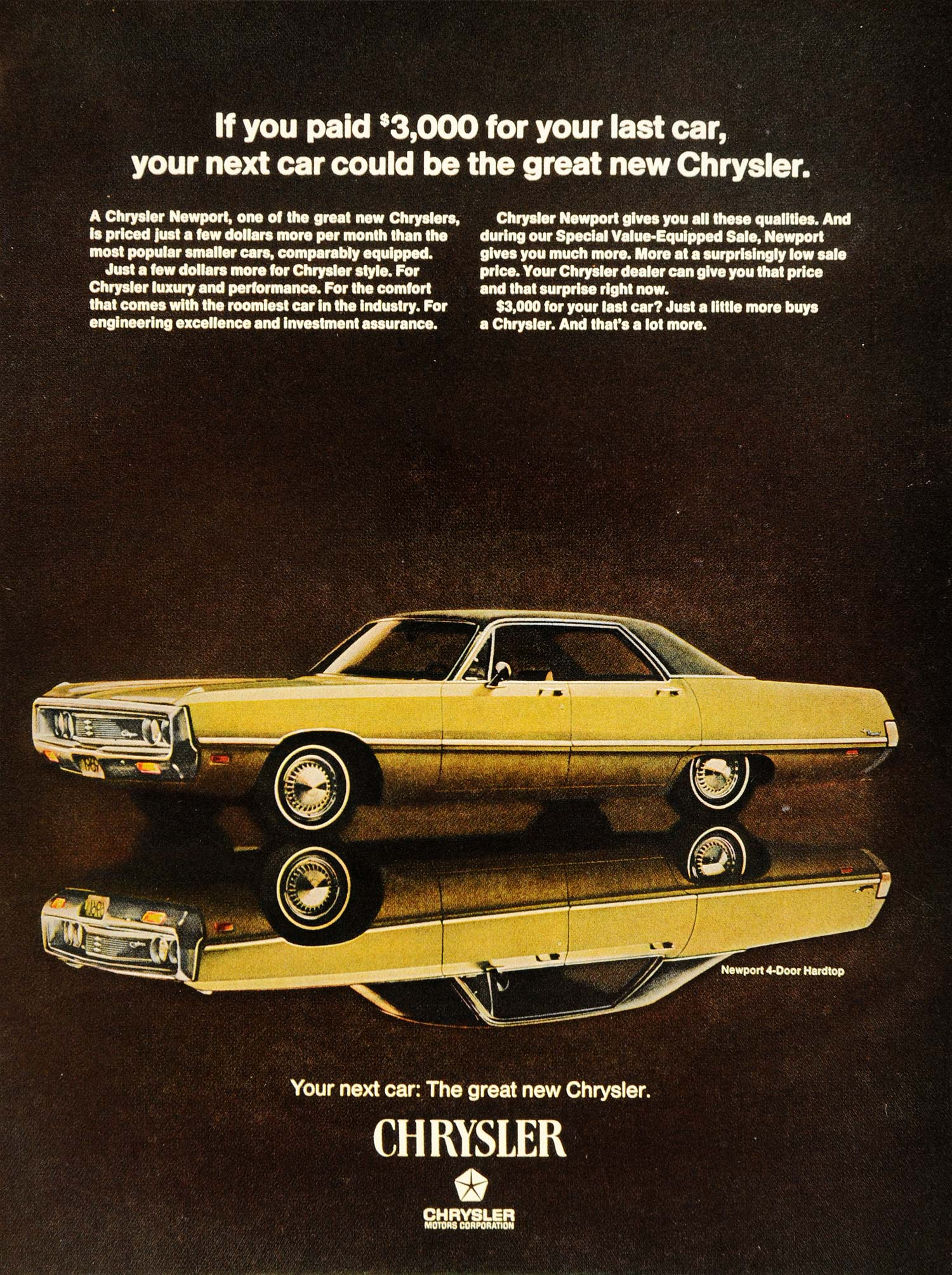 1969 Ad Vintage Chrysler Newport Four Door Hardtop - ORIGINAL ADVERTISING TM3