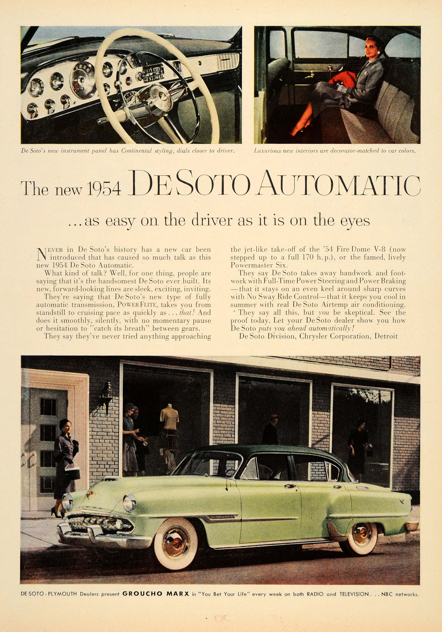 1953 Ad '54 De Soto Automatic Groucho Marx PowerFlite - ORIGINAL ADVERTISING TM3
