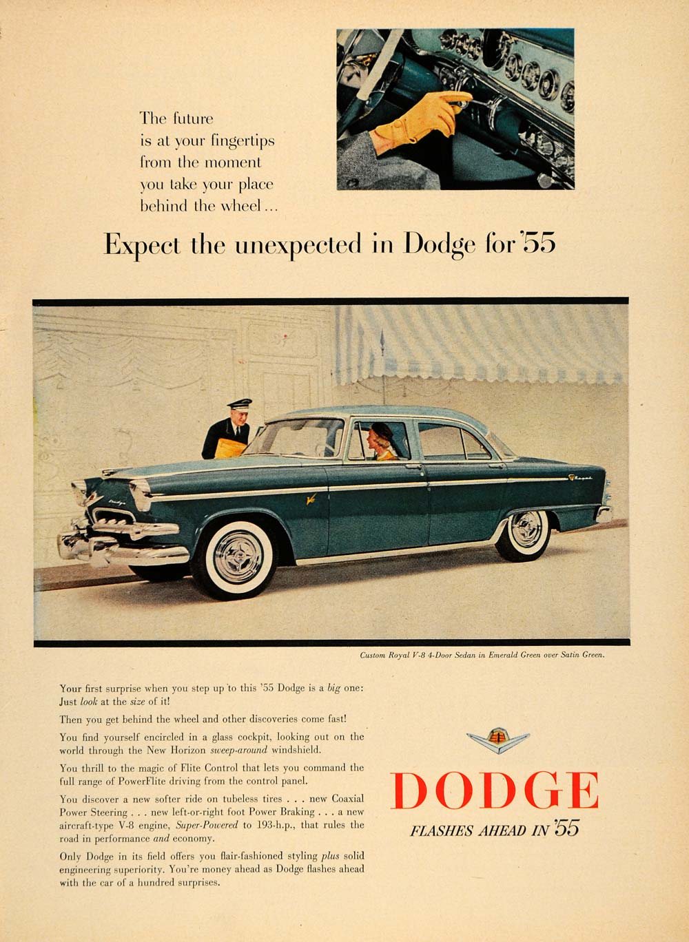 1955 Ad Dodge Royal V8 Sedan Features Flite Control - ORIGINAL ADVERTISING TM5