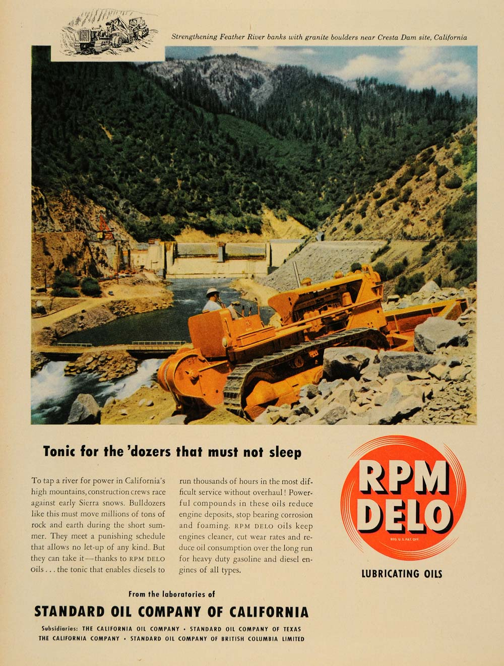 1950 Ad ROM Delo Oils California Standard Oil Bulldozer - ORIGINAL TM5