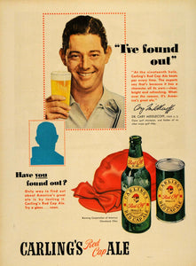 1950 Ad Carling's Red Cap Ale Bottle Dr Cary Middlecoff - ORIGINAL TM5