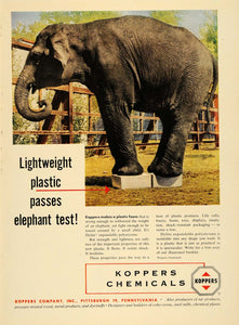 1955 Ad Elephant Koppers Chemicals Pittsburgh Animal - ORIGINAL ADVERTISING TM5