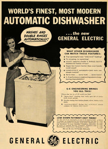 1950 Ad General Electric Dishwasher Appliance Dishes - ORIGINAL ADVERTISING TM5