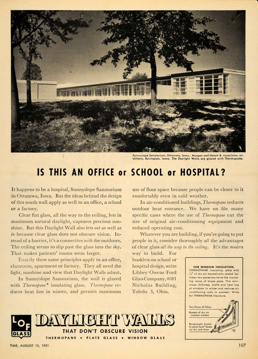 1951 Ad Daylight Walls Sunnyslope Sanatorium Ottumwa - ORIGINAL ADVERTISING TM5