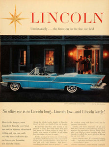 1957 Ad Lincoln Car Automobile Convertible Vera Maxwell - ORIGINAL TM5