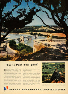 1953 Ad French Gov Tourist Pont d'Avignon St. Aiguilhe - ORIGINAL TM6