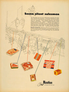 1952 Ad Marathon Meat Products Food Packaging Market - ORIGINAL ADVERTISING TM6