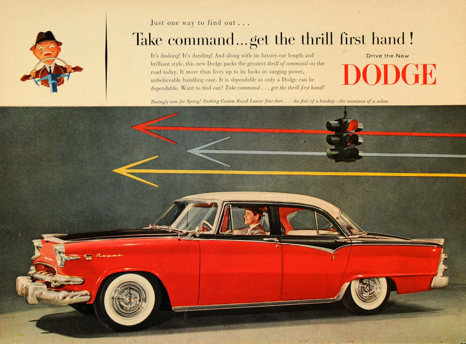 1955 Ad Red Dodge Royal Lancer Four-door Automobile - ORIGINAL ADVERTISING TM6