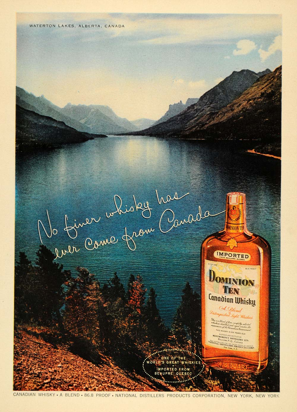 1955 Ad National Distiller Dominion Whisky Waterton - ORIGINAL ADVERTISING TM6