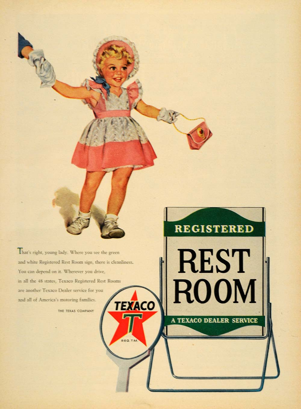 1953 Ad Texas Co. Texaco Gasoline Logo Child Fashion - ORIGINAL ADVERTISING TM6