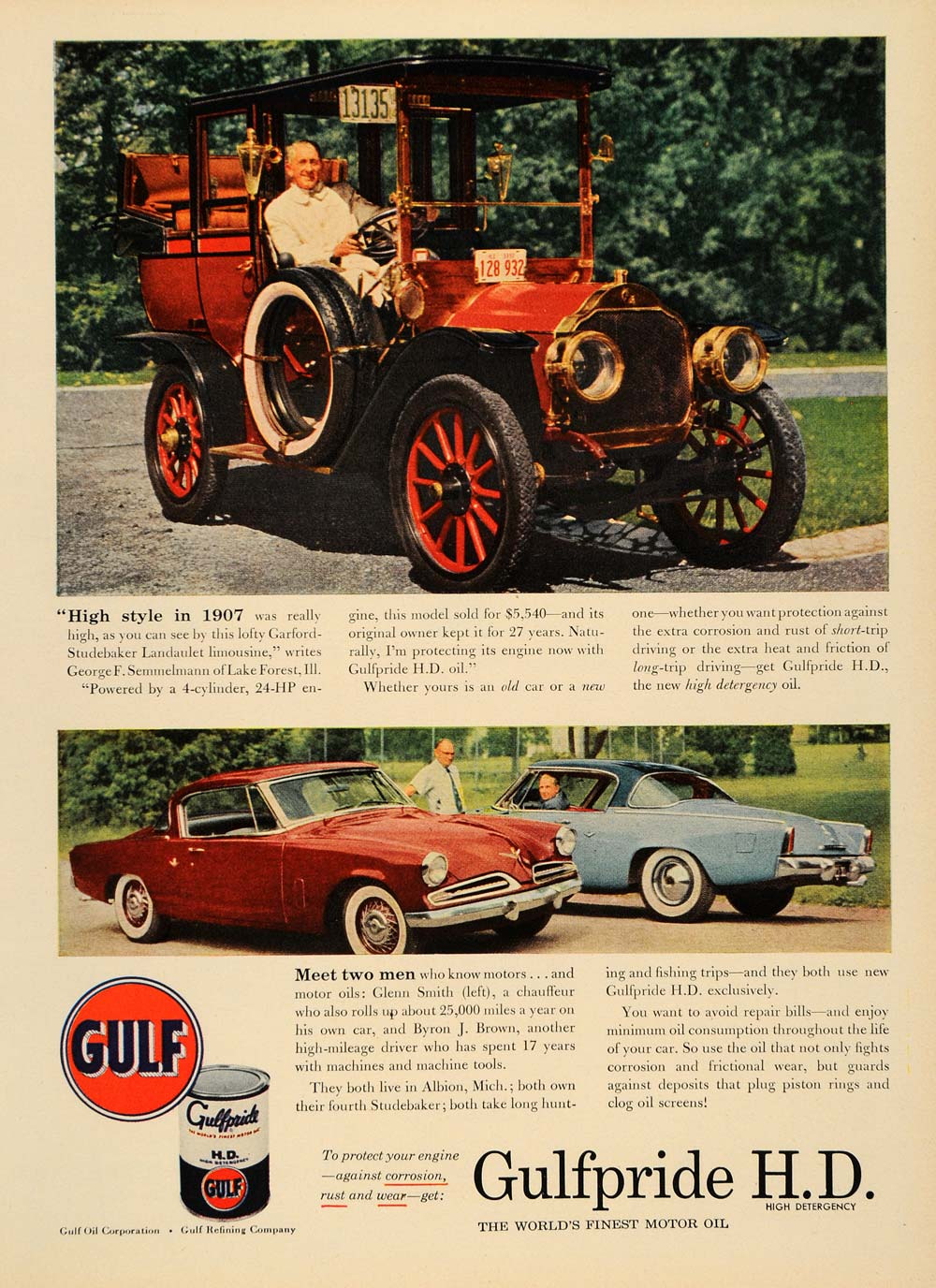 1953 Ad Gulf Oil Gulfpride H D Motor Oil Vintage Cars - ORIGINAL ADVERTISING TM6