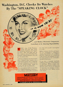 1951 Ad Speaking Clock Washington Mallory Electronic - ORIGINAL ADVERTISING TM6