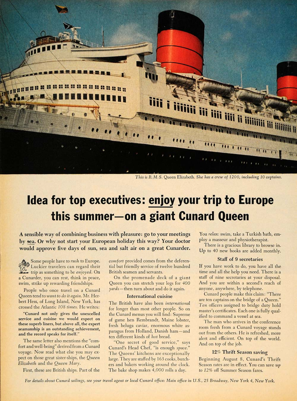 1963 Ad Cunard Line Cruise Queen Elizabeth Ship Voyage - ORIGINAL TM6