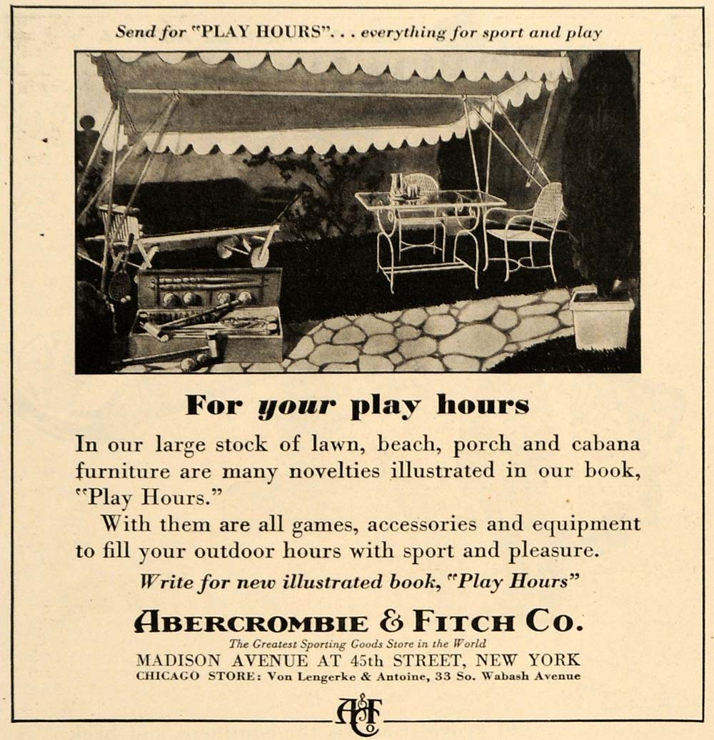 1935 Ad Abercrombie & Fitch Co. Outdoor Furniture Porch - ORIGINAL TM6