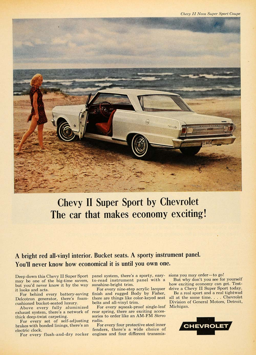 1965 Ad Chevrolet General Motors White Chevy II Beach   ORIGINAL  ADVERTISING TM6