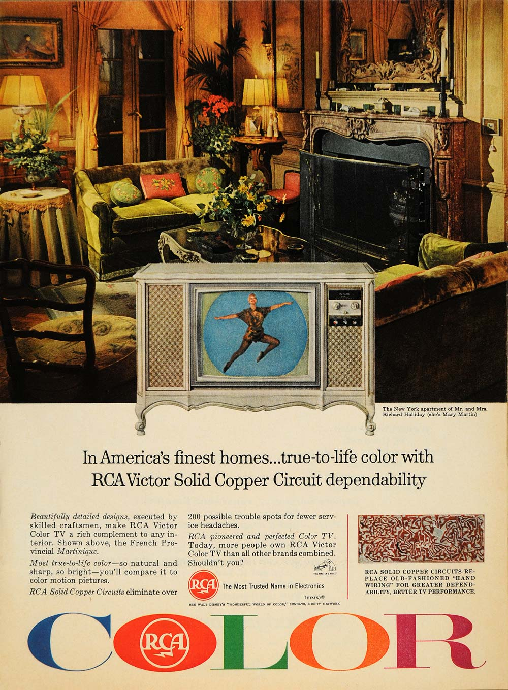 1965 Ad Radio America RCA Victor Solid Copper Color TV - ORIGINAL TM6