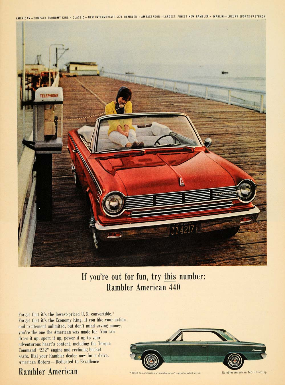 1965 Ad American Motors Red Rambler 440 H Hardtop Car - ORIGINAL ...