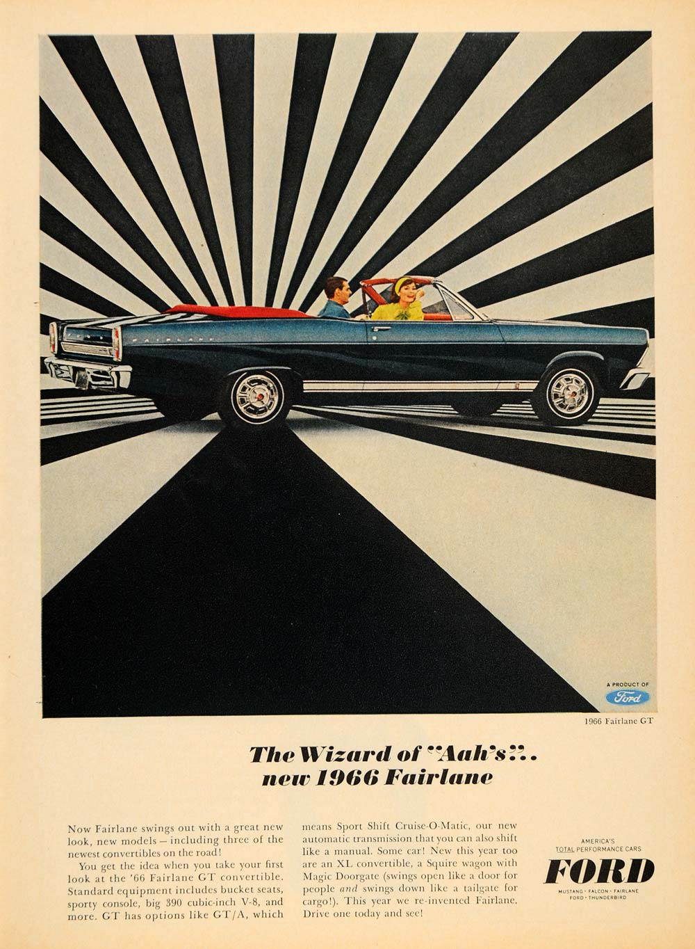 1965 Ad Ford Motor Co. Blue '66 Fairlane GT Convertible - ORIGINAL TM6