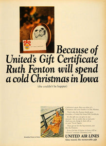1965 Ad United Air Lines Gift Certificate Christmas - ORIGINAL ADVERTISING TM6