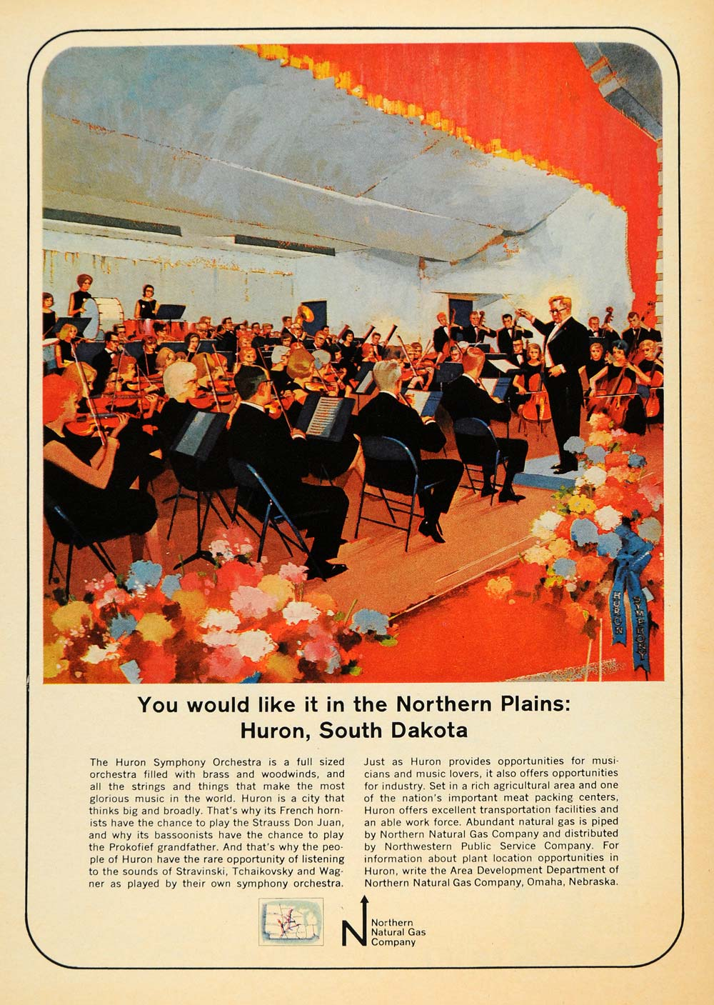 1965 Ad Northern Natural Gas Huron Symphony Orchestra - ORIGINAL ADVERTISING TM6
