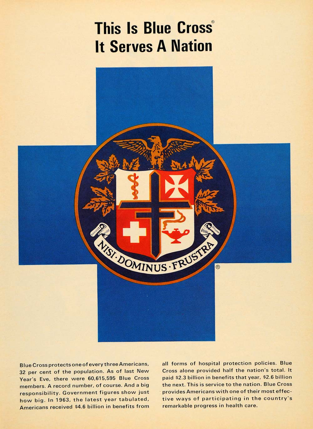 1965 Ad Blue Cross Symbol American Health Care Programs - ORIGINAL TM6