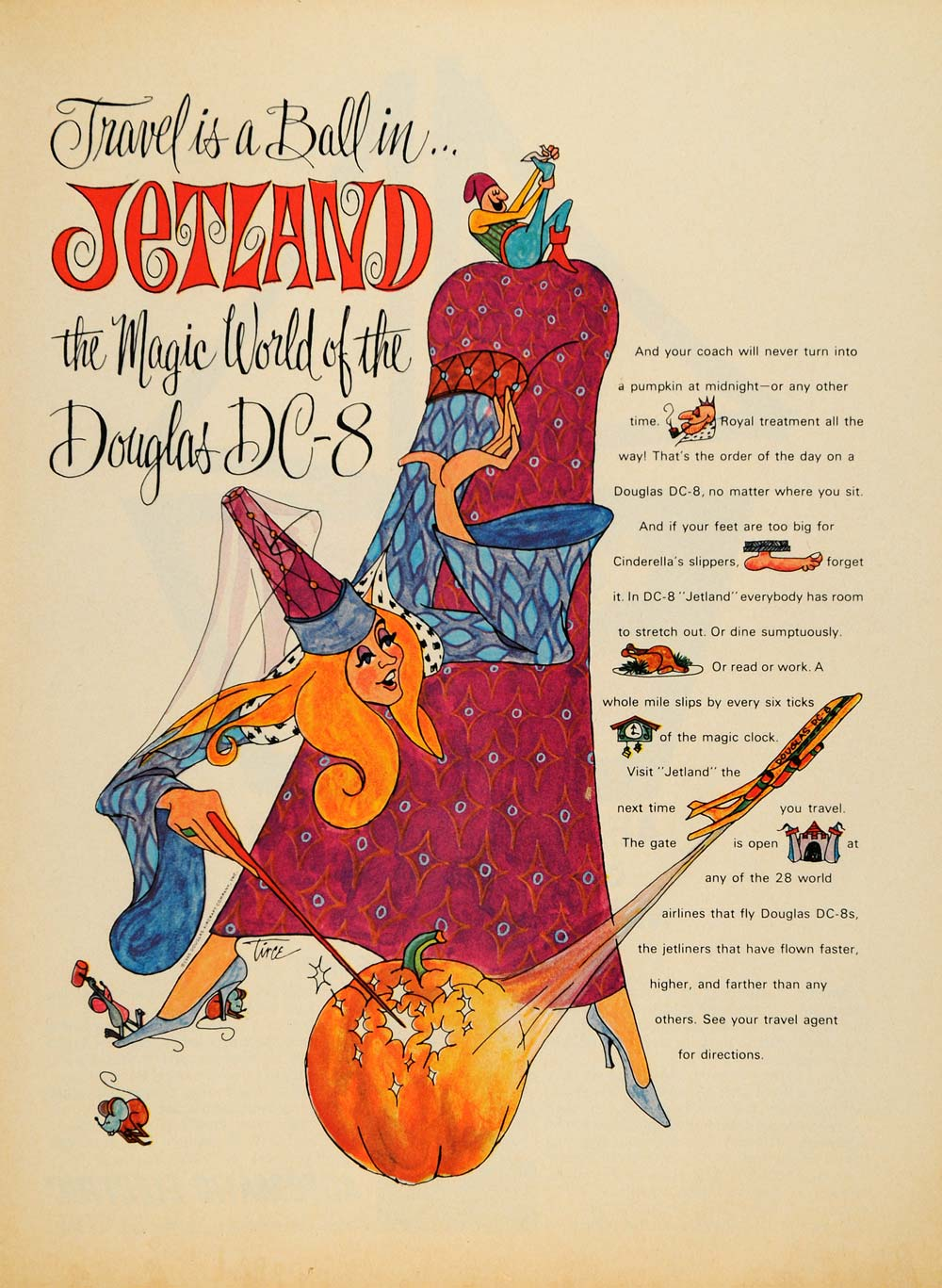 1965 Ad Douglas DC-8 Plane Jetland Fairy Tale Aviation - ORIGINAL TM7