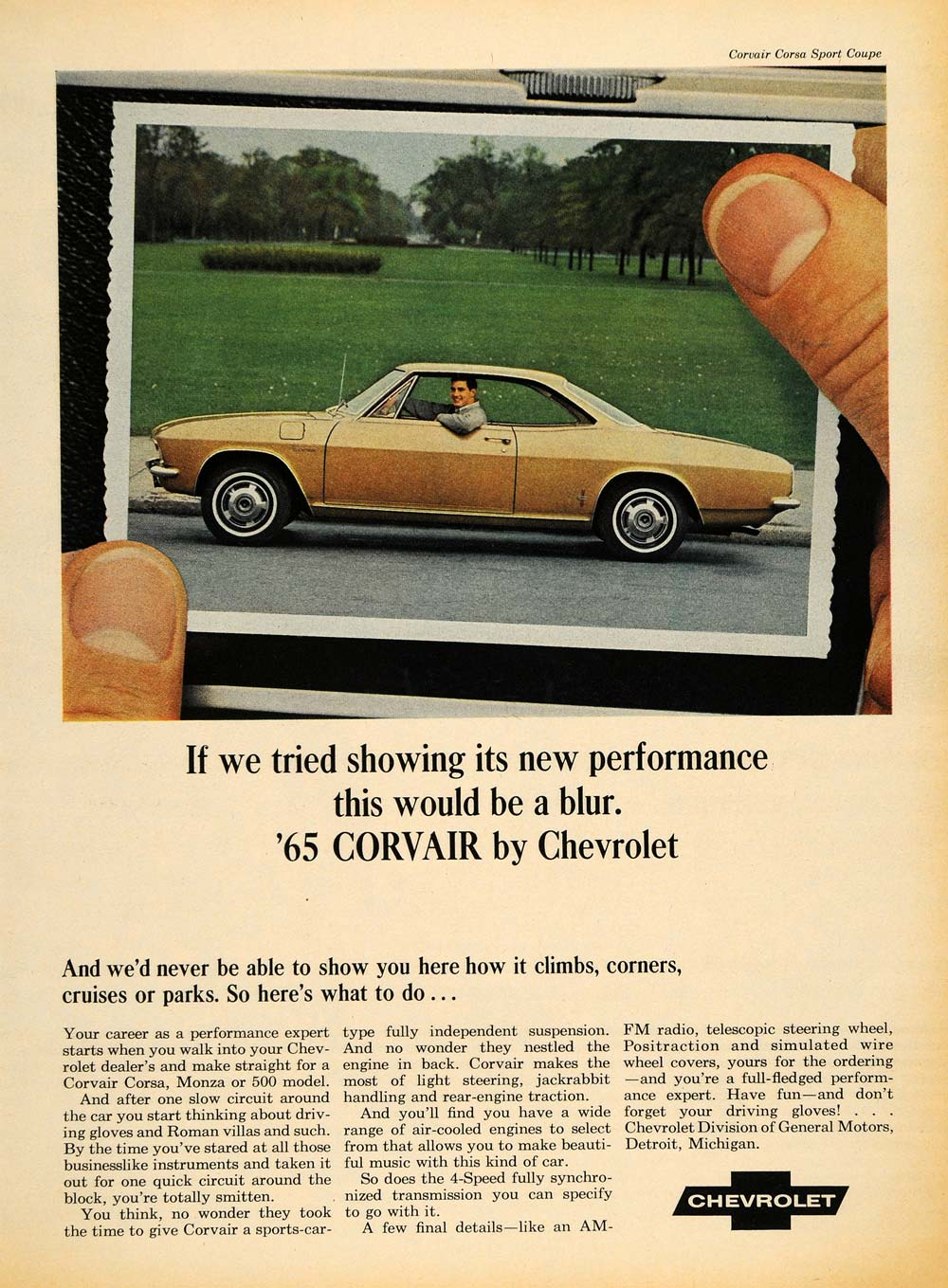 Delightful 1965 Ad Vintage Chevrolet Corvair Corsa Sport Coupe   ORIGINAL ADVERTISING  TM7