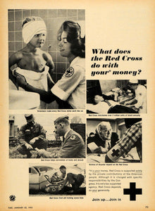 1965 Ad Red Cross Donation Servicemen Blood First Aid - ORIGINAL ADVERTISING TM7