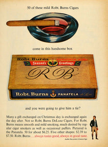 1961 Ad Robt Burns Panatela de Luxe Cigar Christmas Box - ORIGINAL TM7