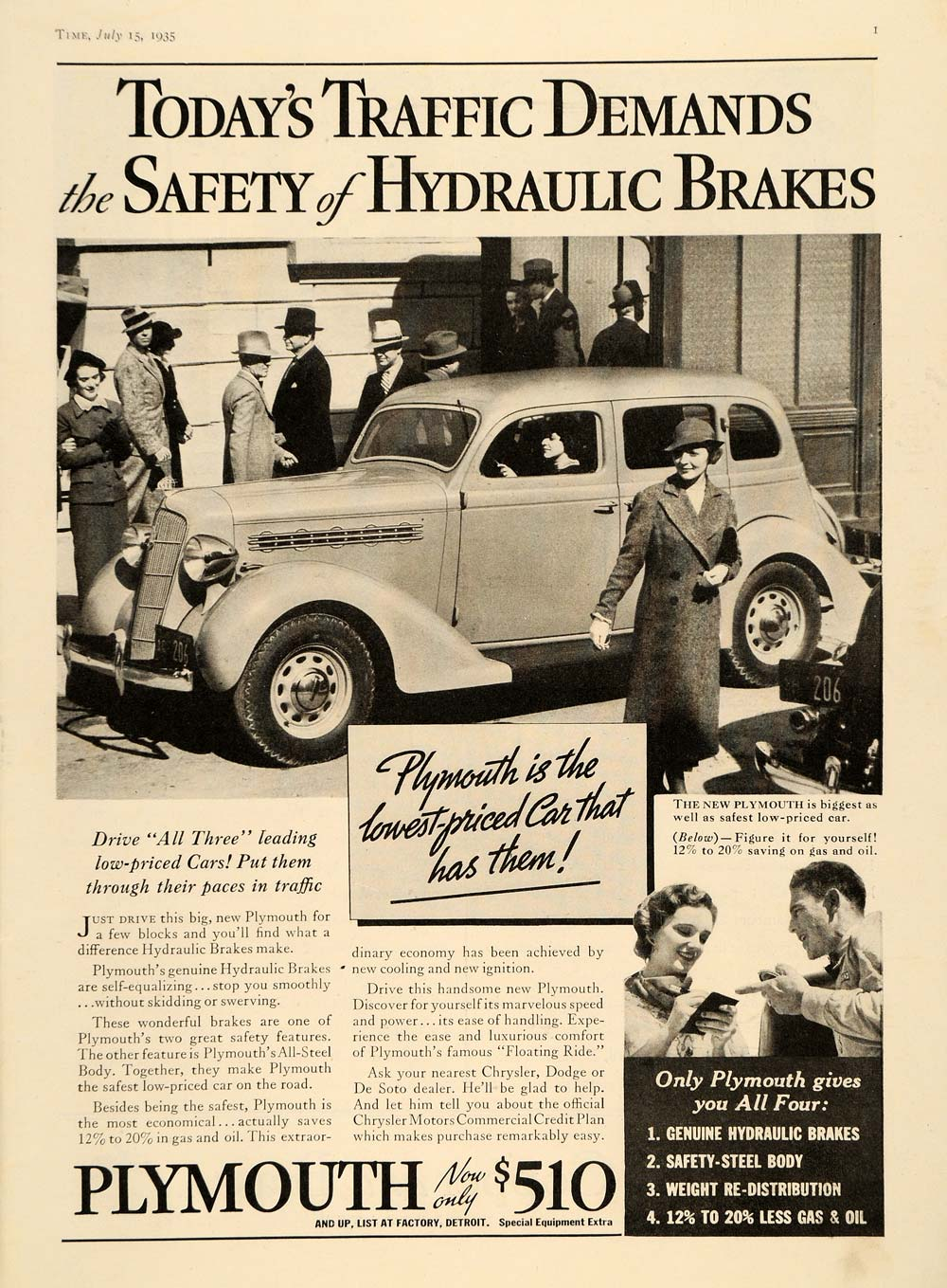 1935 Ad Vintage Plymouth Cars Hydraulic Brakes Chrysler - ORIGINAL TM7