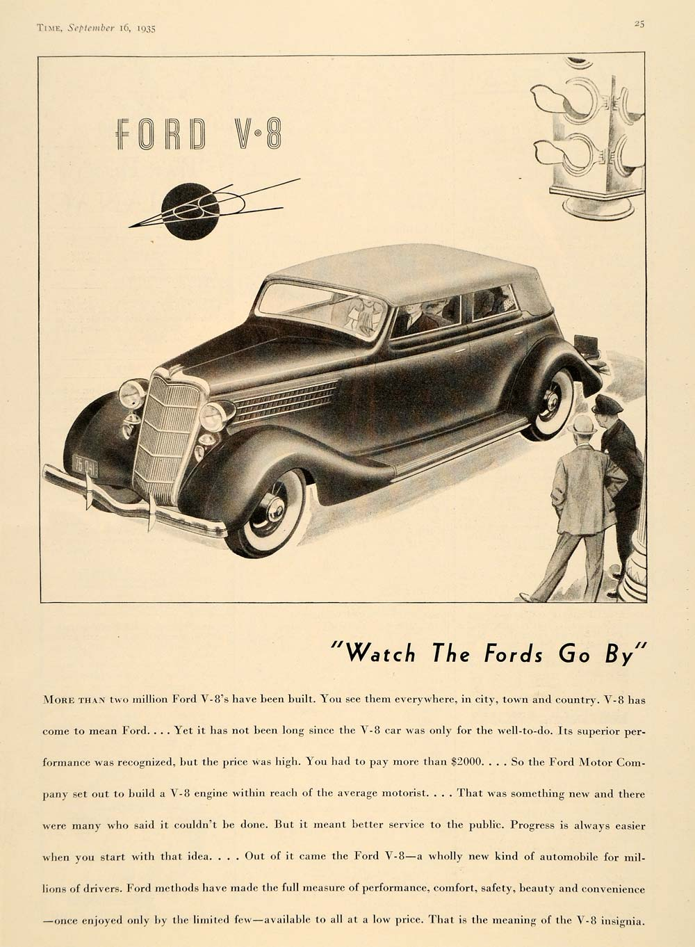 1935 Ad Vintage Ford V8 Pricing Watch the Fords Go By - ORIGINAL ADVERTISING TM7