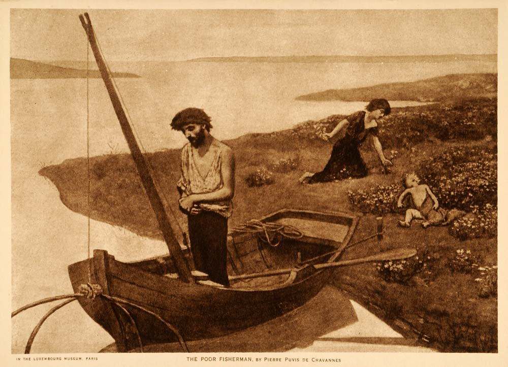 1918 Photogravure Pierre Puvis de Chavannes Poor Fisherman Fishing Boat TMM1