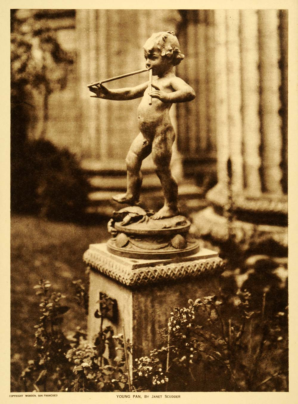 1919 Photogravure Janet Scudder Young Pan Panpipes Nude Statue Sculpture TMM1