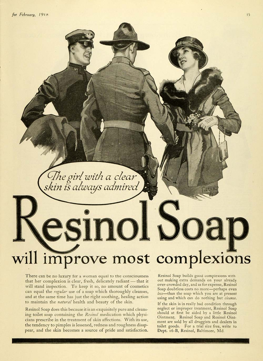 1918 Ad Resinol Soap State Patrol Police Officers Skin Complexion TMP2