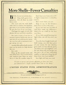 1919 Ad World War I United States Fuel Administration Gun Shells Ammunition TMP2